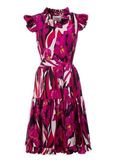 La DoubleJ Short And Sassy Ruffled Floral Silk Dress