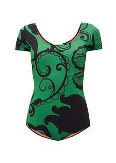 La DoubleJ Short-sleeved Marea-print swimsuit