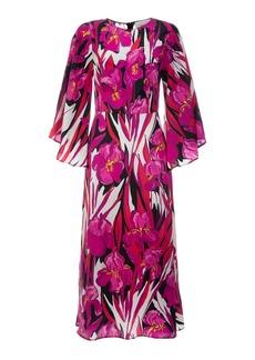 La DoubleJ Sorella Draped-Sleeve Floral Silk Midi Dress