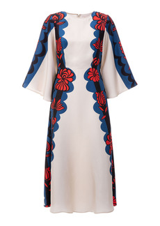 La DoubleJ Sorella Draped-Sleeve Printed Silk Midi Dress