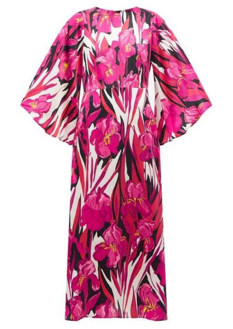 La DoubleJ Sorella peony-print hammered-silk dress