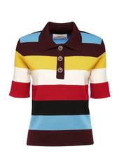 La DoubleJ Striped Merino Wool Polo Shirt
