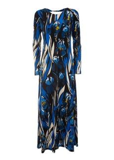 La DoubleJ Swank Open-Back Printed Crepe Maxi Dress