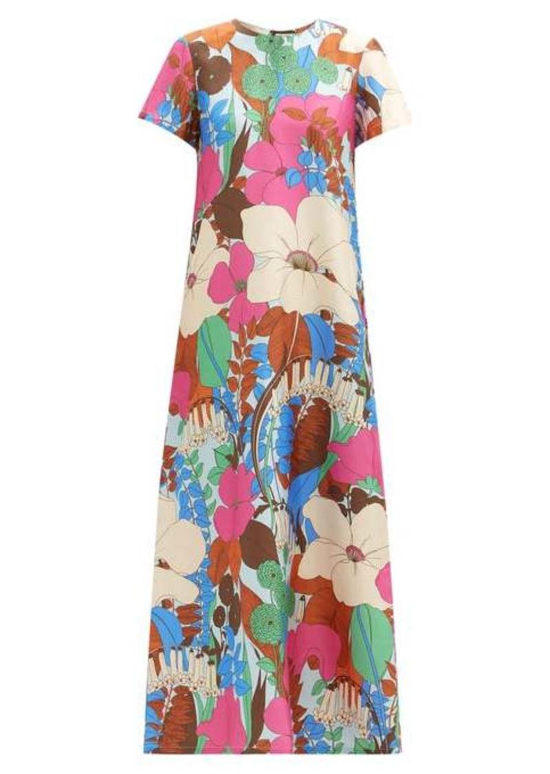 La DoubleJ Swing Big Flower-print silk-twill dress
