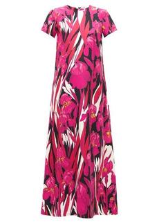 La DoubleJ Swing peony floral-print silk maxi dress