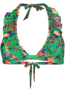 La Doublej Pavone Verde ruffle bikini top