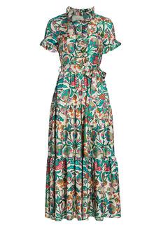 La Doublej Sassy Ruffle Trim Floral Maxi Dress