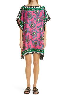 Women's La Doublej Scarf Print Silk Cover-Up Tunic