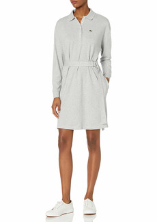 Lacoste Women's Long Sleeve Belted Pique Polo Dress  S