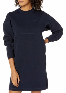 Lacoste Womens Long Sleeve Crew Neck Double Face Stretch Poly Cotton Dress Casual Dress
