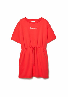 Lacoste Women's Short Sleeve Branded Belted T-Shirt Dress