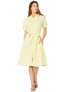 Lacoste Women's Short Sleeve Buttondown Belted Pique Polo Dress