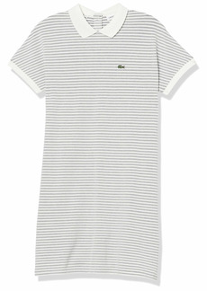 Lacoste Women's Short Sleeve Buttonless Striped Pique Polo Dress Navy Blue/Cake-Flour White