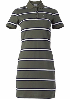 Lacoste Women's Short Sleeve Slim Fit Striped Polo Dress AUCUBA/Navy Blueflour