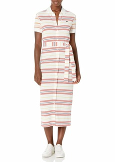 Lacoste Women's Striped Button Down Polo Maxi Dress Flour/Corrida-Daba-Methylene-Nidus