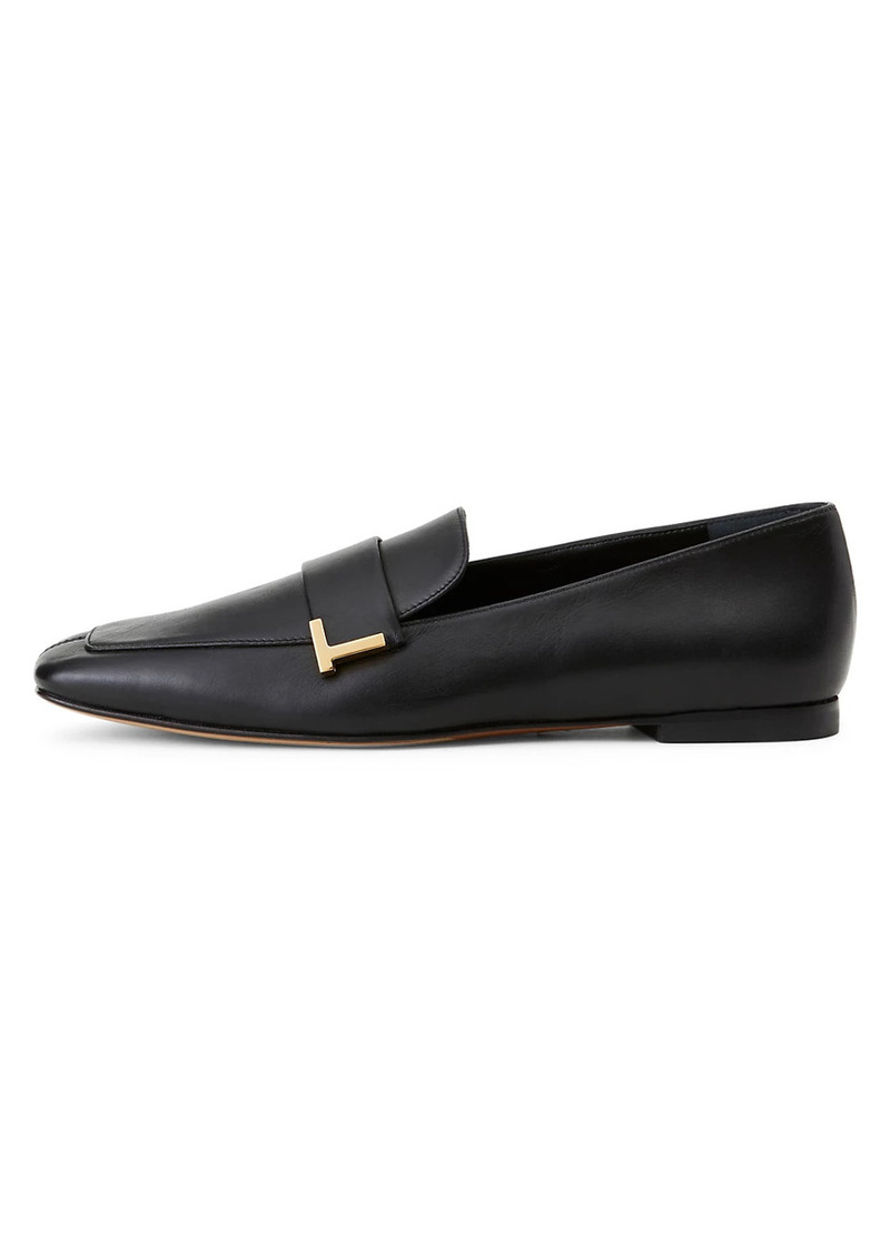 Lafayette 148 Eve Square-Toe Leather Loafers