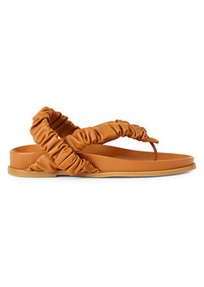 Lafayette 148 Helene Ruched Leather Slingback Thong Sandals
