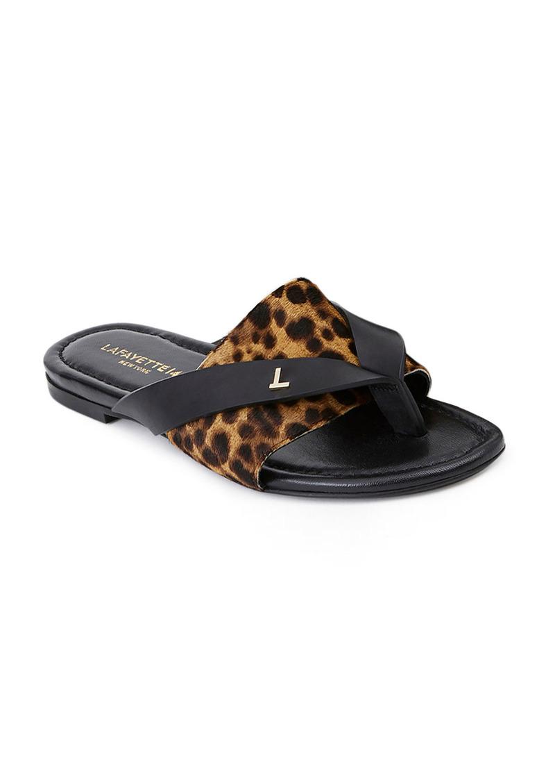 Lafayette 148 Iris Leopard-Print Fur Thong Sandals