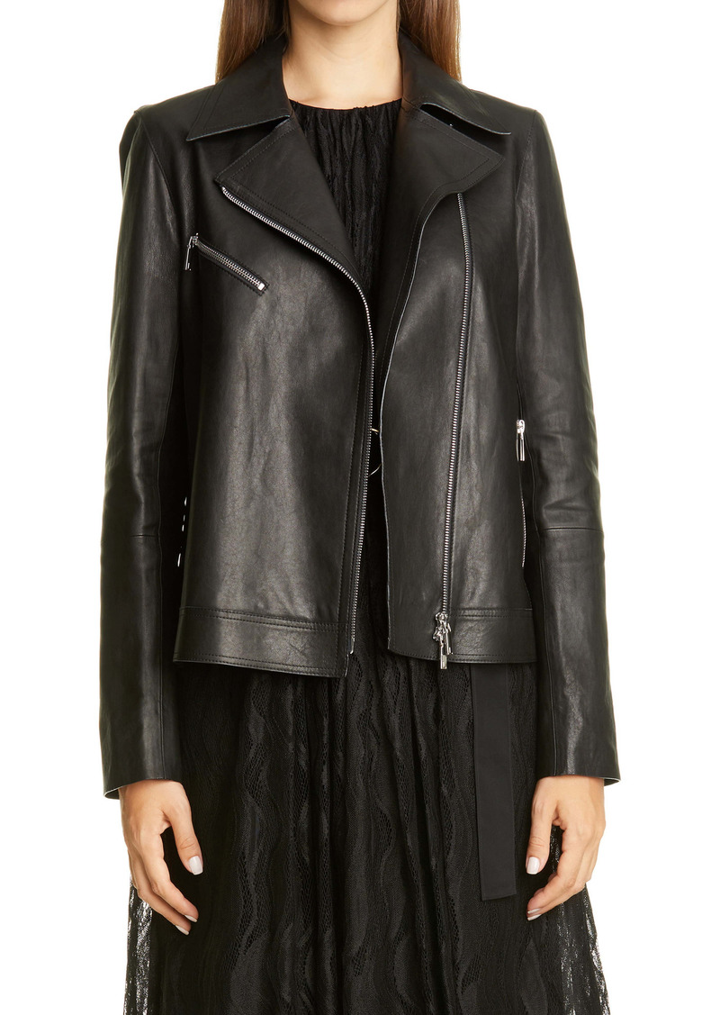 Lafayette 148 New York Aisling Leather Moto Jacket