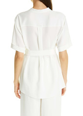 Lafayette 148 New York Alyse Belted Crepe Blouse