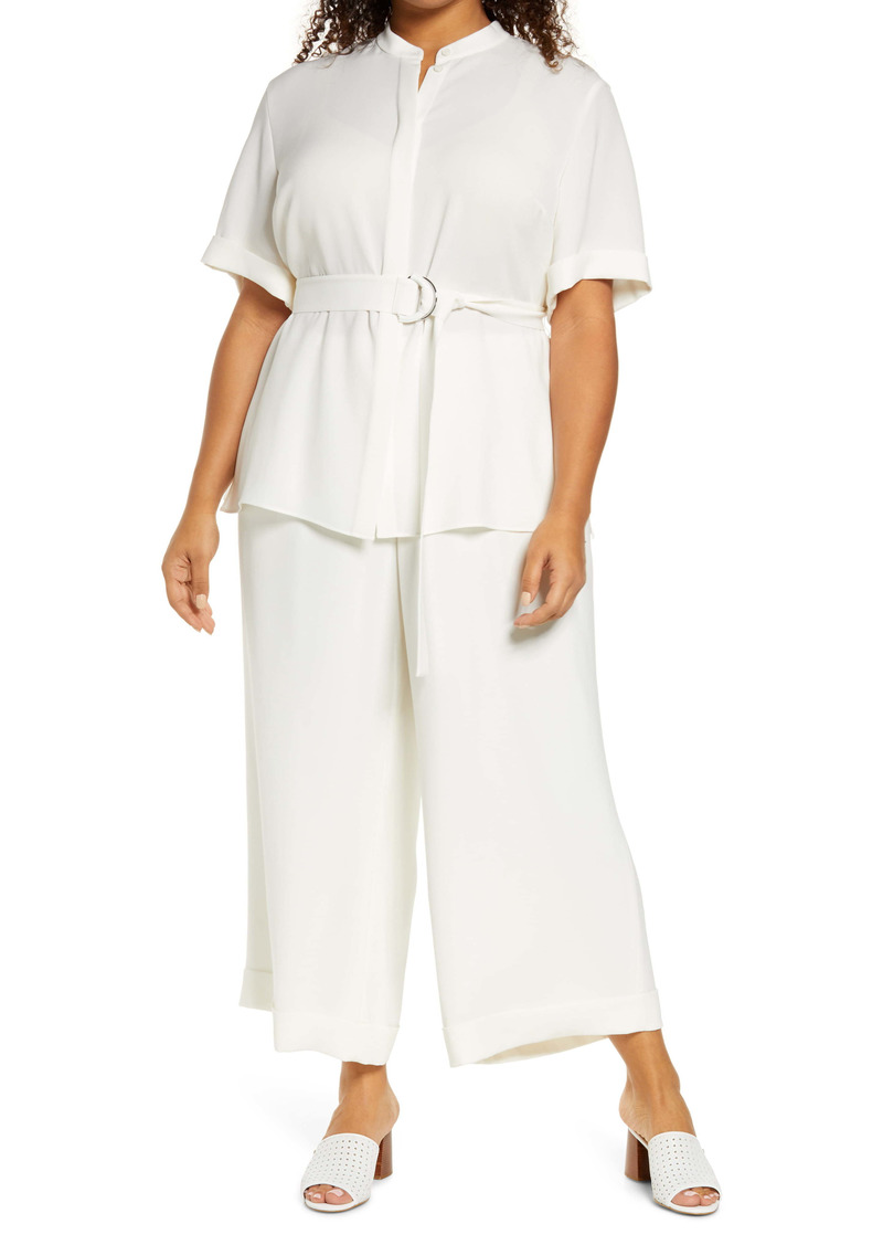 Lafayette 148 New York Alyse Belted Crepe Blouse (Plus Size)