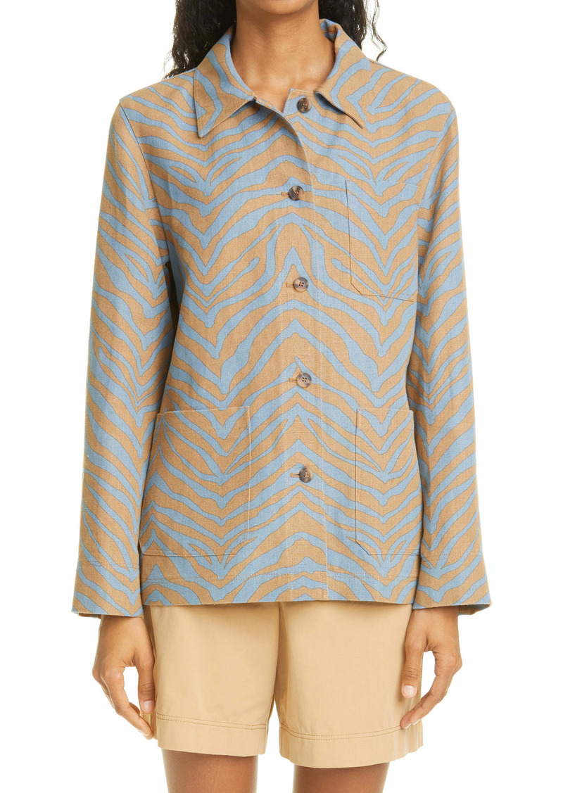 Lafayette 148 New York Amaris Zebra Print Linen Shirt Jacket