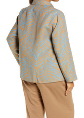 Lafayette 148 New York Amaris Zebra Print Linen Shirt Jacket (Plus Size)
