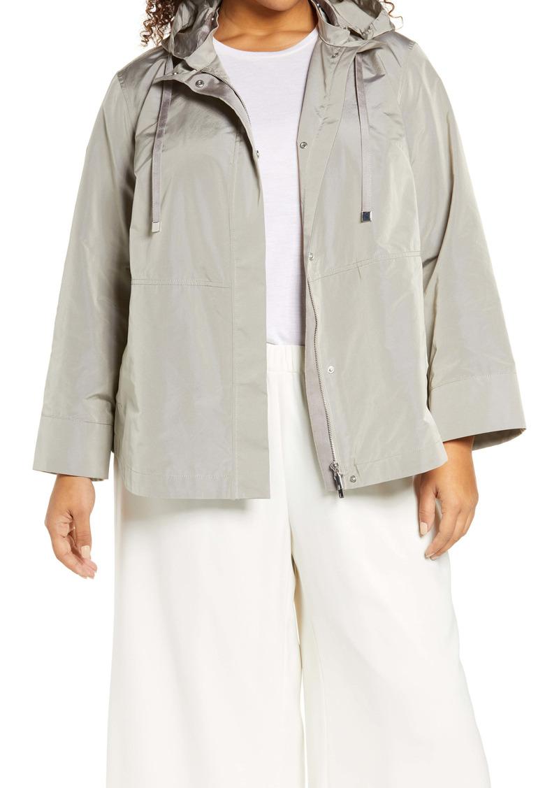 Lafayette 148 New York Ansel Taffeta Jacket with Removable Hood
