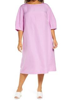 Lafayette 148 New York Cait Coastal Cloth Midi Dress (Plus Size)