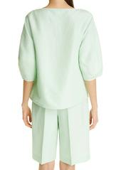Lafayette 148 New York Cait Silk & Linen Blouse