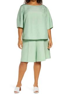 Lafayette 148 New York Cait Silk & Linen Blouse (Plus Size)