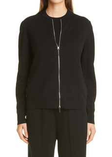Lafayette 148 New York Double Knit Zip Front Cardigan