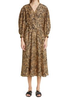 Lafayette 148 New York Faye Zebra Print Silk Shantung Midi Dress