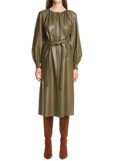 Lafayette 148 New York Florentina Plonge Leather Long Sleeve Shirtdress