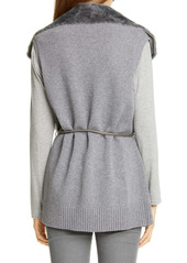 Lafayette 148 New York Genuine Shearling Panel Wool & Cashmere Vest