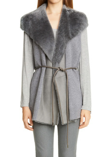 Lafayette 148 New York Genuine Shearling Panel Wool & Cashmere Vest