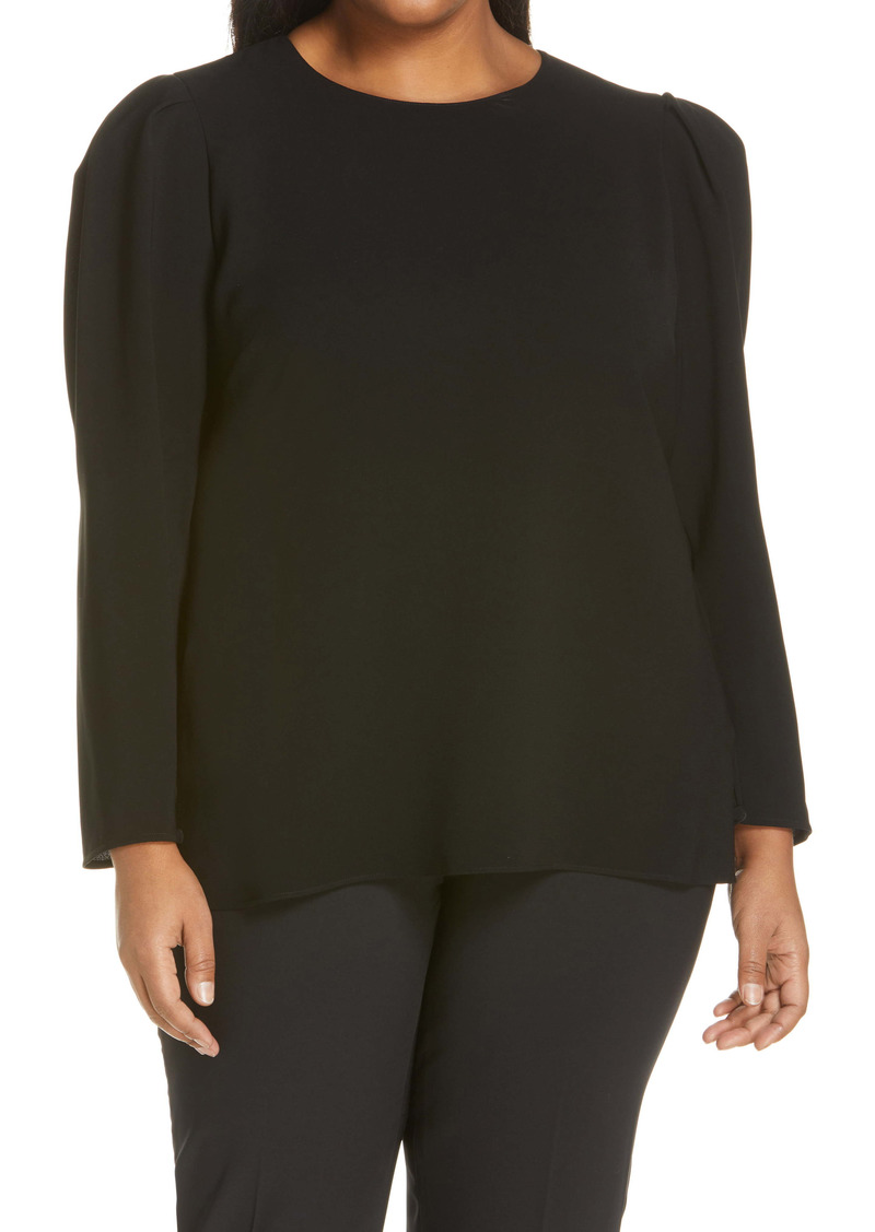 Lafayette 148 New York Gia Finesse Crepe Blouse (Plus Size)