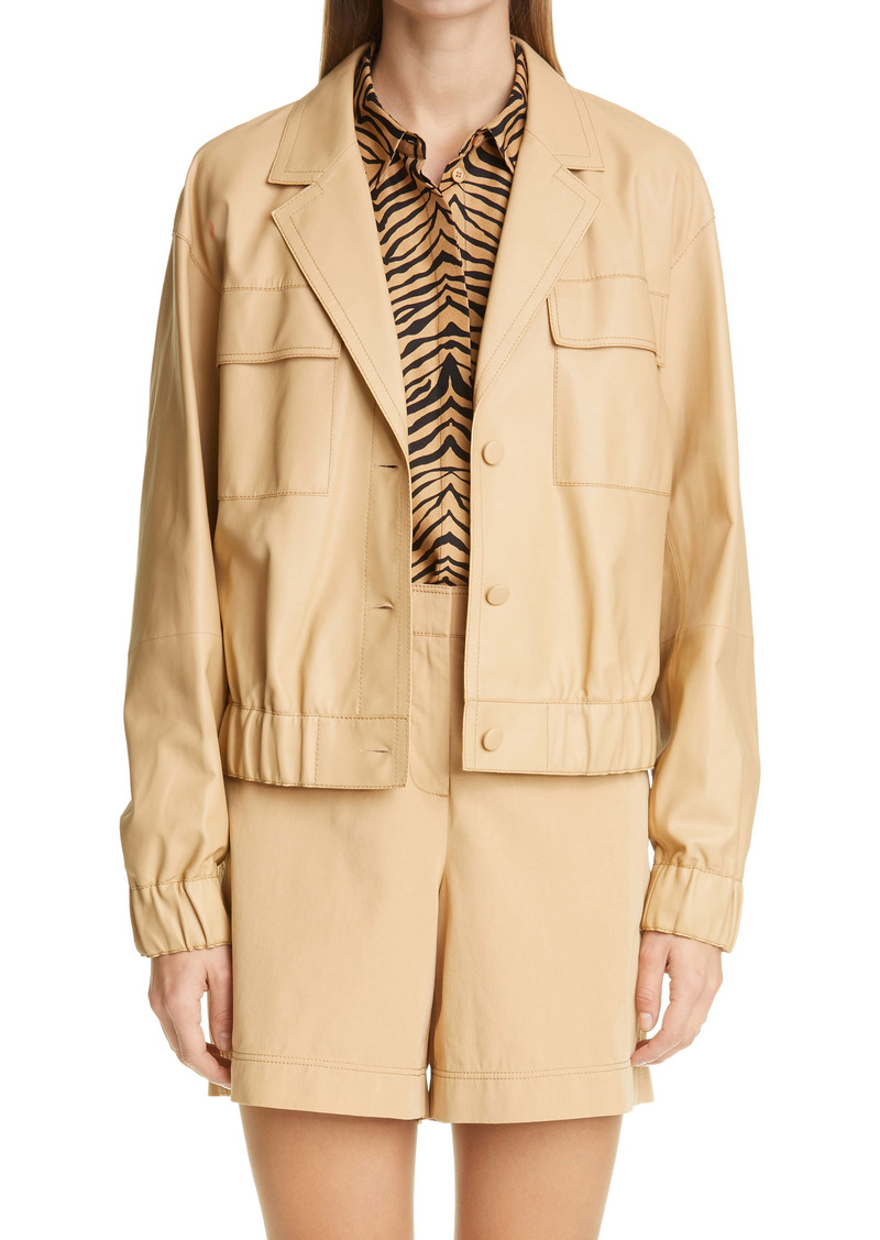 Lafayette 148 New York Leonie Plonge Lambskin Leather Jacket