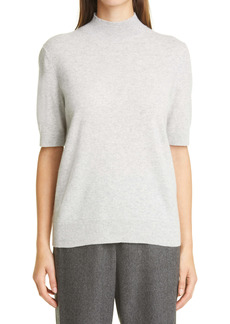 Lafayette 148 New York Metallic Trim Cashmere Mock Neck Sweater
