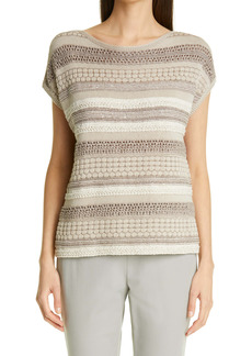 Lafayette 148 New York Mixed Stitch Sequin Sweater