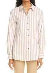 Lafayette 148 New York Ruxton Stripe Cotton Blend Shirt