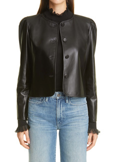Lafayette 148 New York Scarlet Leather Crop Jacket