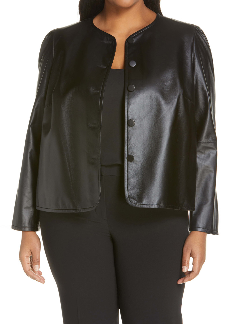 Lafayette 148 New York Scarlet Leather Crop Jacket (Plus Size)