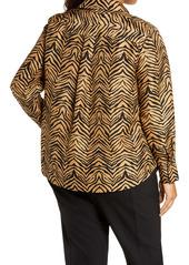Lafayette 148 New York Scottie Zebra Print Silk Blouse (Plus Size)