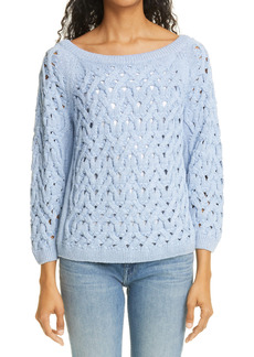 Lafayette 148 New York Sequin Infinity Cable Metallic Sweater