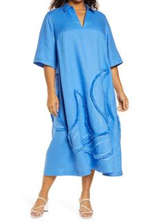 Lafayette 148 New York Sera Fringe Linen Shift Dress (Plus Size)