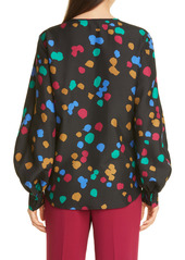 Lafayette 148 New York Sicilia Scatter Dot Print Silk Blouse