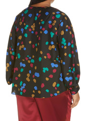 Lafayette 148 New York Sicilia Scatter Dot Print Silk Blouse (Plus Size)