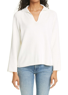 Lafayette 148 New York Split Neck Cotton & Silk Sweater