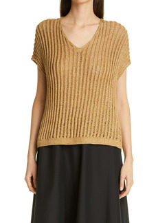 Lafayette 148 New York V-Neck Drop Stitch Sweater